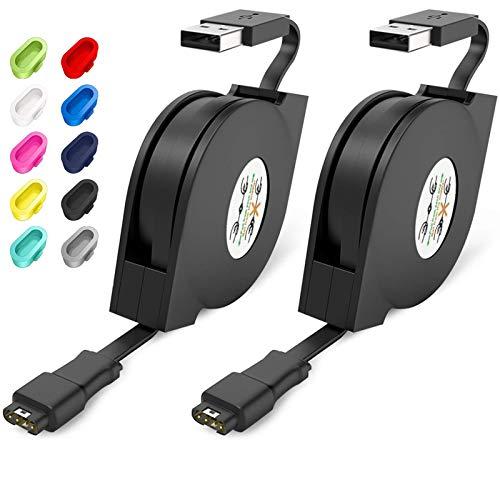 CAVN 2 Pack Cargador Compatible con Garmin Fenix 6 6S 6X Pro/Fenix 5 5S 5X Plus/Forerunner 935 945 745 45 45S 245/Approach S40 S60/Vivoactive 3 4 4S/Vivomove 3 3S/Instinct/Venu Sq USB Cargador Cable