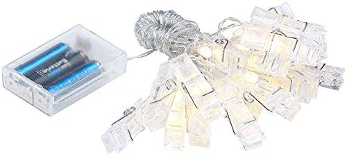 Lunartec luces de hadas Clips de fotos: Clips de fotos LED luces de hadas con 20 clips, bateria cargada, 6 m (LED foto Acortar luces de hadas)