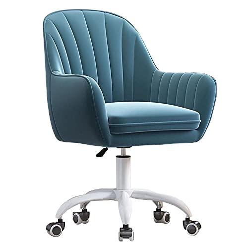 Silla de escritorio ergonómica de altura ajustable con brazos, silla de terciopelo para casa, oficina, silla giratoria, para computadora escritorio, dormitorio, aparador, color azul