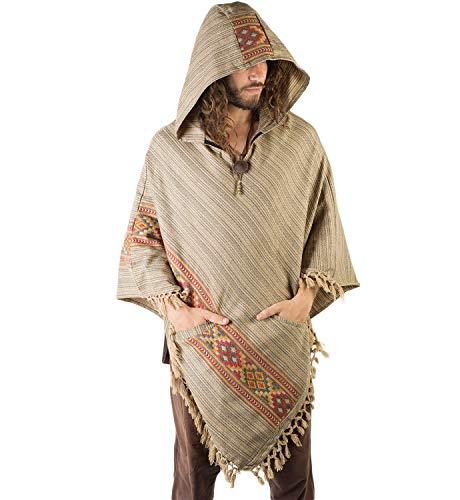 AJJAYA Poncho de lana de yak marrón claro para hombre con capucha grande hecho a mano Primitivo Festival gitano mexicano tribal bordado alternativa
