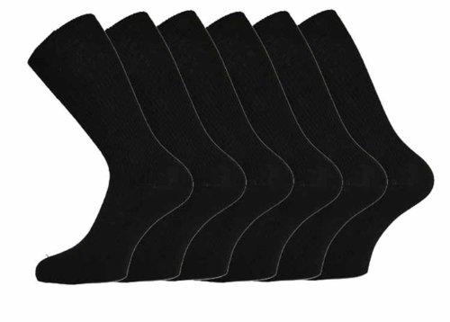Nouveau lot de 12 paires de CHAUSSETTES mi-mollet Homme 100 % Coton Bords souples sans compression Sans élastique Noir lot de 12 Tailles 39-45
