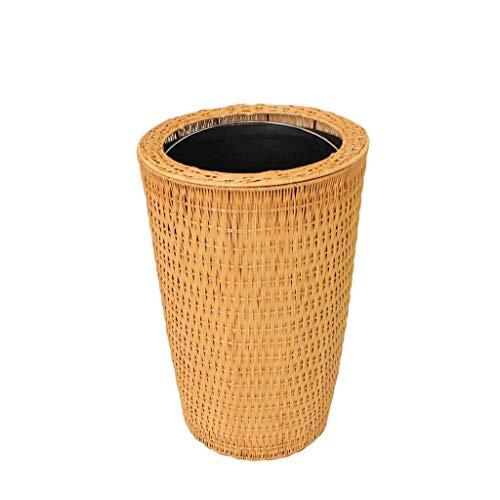 ZFFSC Mülleimer für den Innenbereich Ibuprofen Kreative Unkomplizierte Zylindrische Grüne handgemachte Bambus Papierkorb New Chinese Wohnzimmer Schlafzimmer Trash Can Brown, Mülleimer