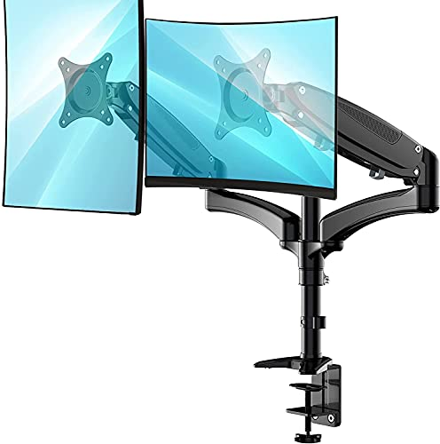 Huanuo Dual Monitor Stand - Height Adjustable Monitor Mount Fits Two 13 to 27...