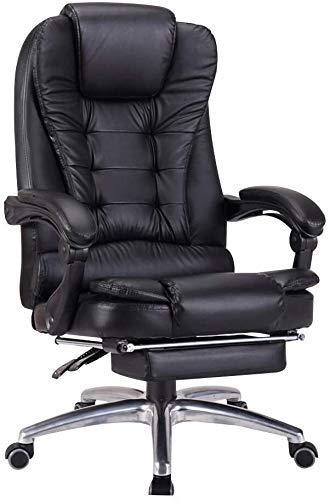 XBSXP Computerstuhl mit verstellbarer Rückenlehne, doppelter dicker Polsterung, hohe Rückenlehne, Computerstuhl mit Fußstütze, ergonomischer Chefsessel für Arbeitszimmer, Büro (Farbe: schwarz)