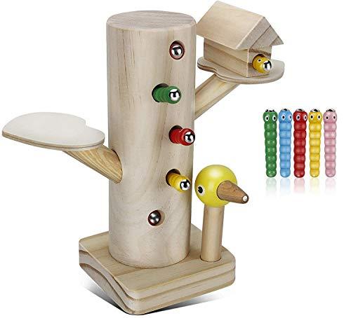 Jooheli Montessori Spielzeug, Magnetisches Spielzeug Kinder Spiel 3 Jahre, Specht Raupen Fangen Spiel Montessori Spielzeug, Lernspielzeug ab 2 3 4 Jahren Jungen und Mädchen Geschenke
