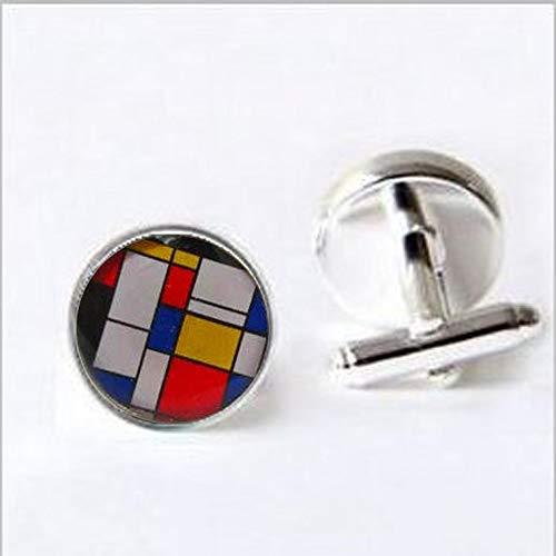 bab Mondrian - Gemelos para hombre - arte - geométrico - para hombre - regalo para él - accesorio de boda - Gemelos