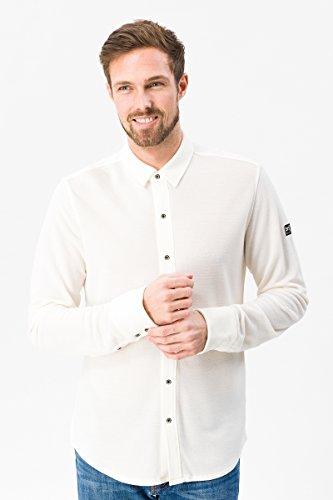 super.natural Herren Langarm-Polo-Hemd, Mit Merinowolle, M PIQUET SHIRT, XXL, Weiß
