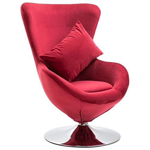vidaXL Drehstuhl in Ei-Form mit Kissen Sessel Drehsessel Loungesessel Stuhl Fernsehsessel Relaxsessel Polstersessel Schalensessel Eiersessel Rot Samt