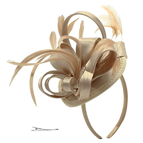 Fascinator Hats for Women Feather Cocktail Party Hats Bridal Kentucky Derby Headband (Gold)