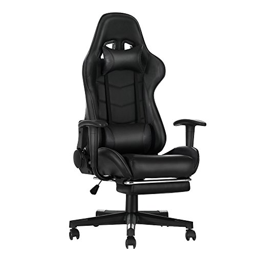 Gaming Chair, Racing Style Office High Back Ergonomic Conference Work Chair Reclining Computer PC Swivel Desk Chair 170 Degree Reclining Angle with Headrest, Lumbar Cushion & Footrest (Black)