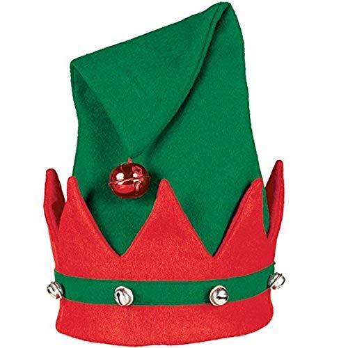 Amscan Elfenmütze mit Glöckchen, Rot/Grün