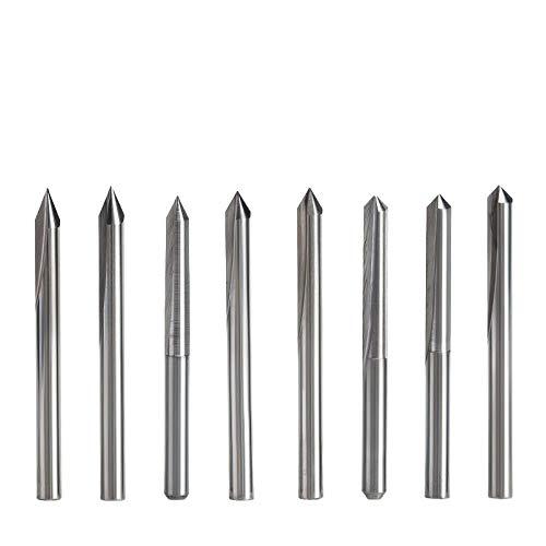 Brocas Para 10 unid/set 3.175mm 2 flautas brocas de grabado rectas cortador profundo para brocas de tallado CNC de madera dura-3826