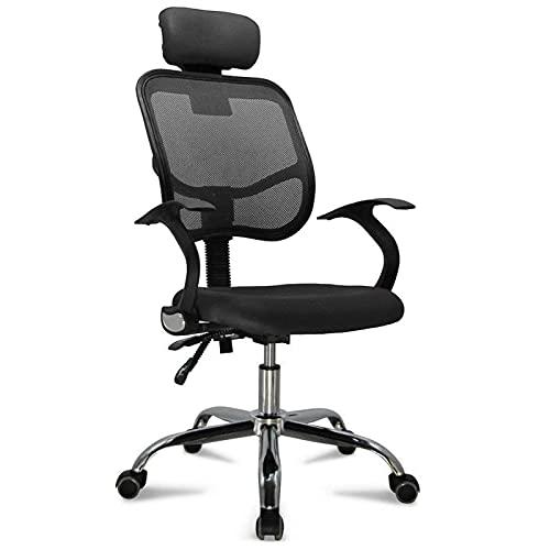 Bürostuhl ergonomischer Schreibtischstuhl, Drehstuhl mit Verstellbarer Lordosenstütze, Kopfstütze, Armlehne und Rückenlehne, Chefsessel Höhenverstellung bis 130kg