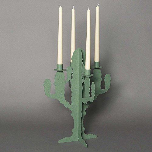 ARTI E MESTIERI candelabro de mesa (Metal Cactus. Verde salvia