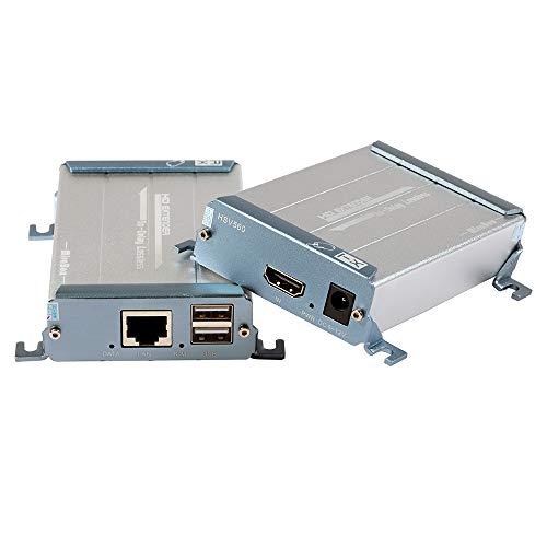 MiraBox KVM 262ft HDMI Extender verlustfrei und Keine Zeit Latenz 1080P Full HD 393ft Sender Unterstützung Tastatur und Maus über Cat5 Cat5e Cat6 für Computer Laptop