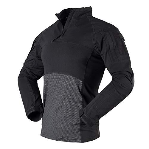 Herren-Langarmshirt, atmungsaktiv, Militär-Stil, mit Reißverschlusstaschen, Schwarz
