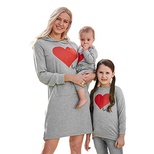 PopReal Mommy and Me Outfits Love Heart Pattern Sweatshirt Hoodies Long Sleeve Shirt Dress Mom and Daughter Matching Outfits(Baby) Georgia