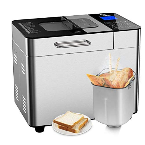 MOOSOO Bread Machine with Automatic fruit dispenser & Ice Cream Function, 2LB 18-in-1 Programmable Bread maker for Home Bakery, 600W Stainless Steel Toaster Makers, with 3 Rotating Blades