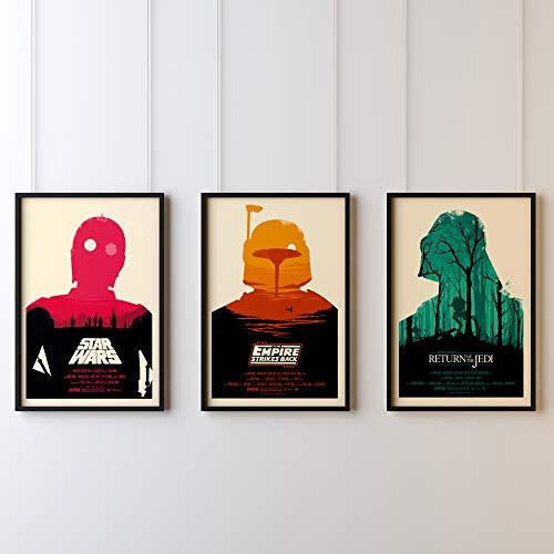 3 x Star Wars IV, V, VI, Original Trilogy US Movie Wall Art Poster Print