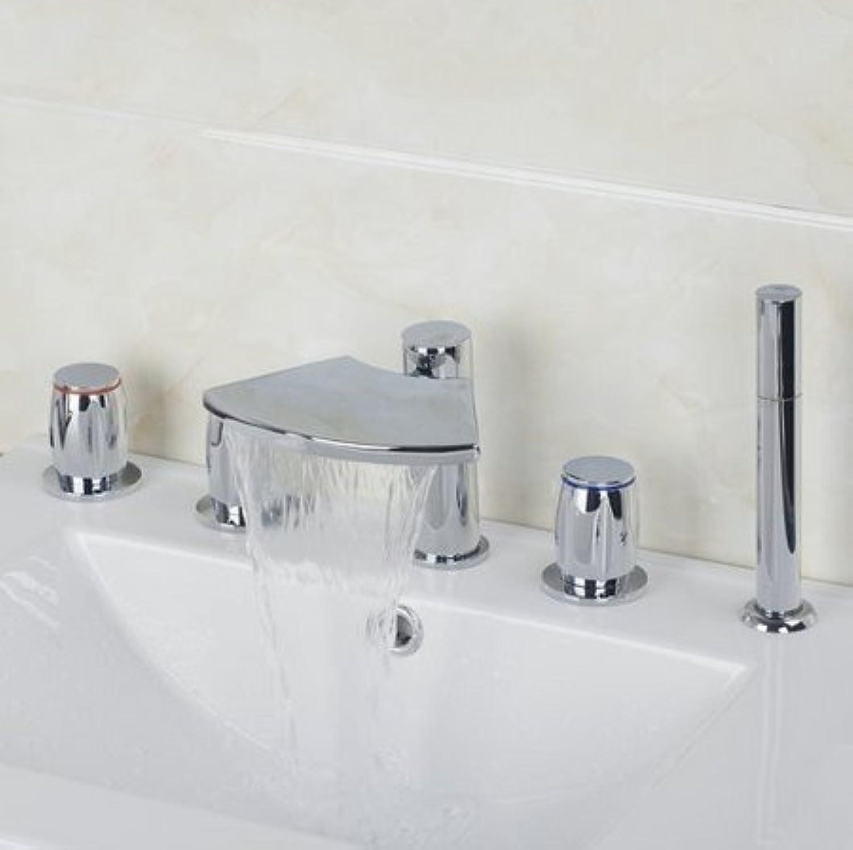 Gowe Badewanne Torneira Wasserfall Badezimmer Chrom 5Stück 2Hebel Wasserhahn Waschbecken Waschbecken Mixer Wasserhahn Armaturen
