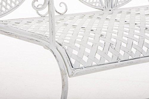 CLP Metall-Gartenbank TJURE im Landhausstil, Eisen lackiert, ca. 140 x 60 cm Antik Weiß - 8