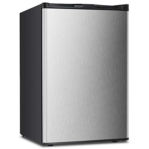 3.0 CU.FT Upright Freezer Convertible Deep Stainless Steel Capacity Quick Freeze Function Refrigerator Low Noise Compact Refrigerators (Stainless steel-3.0cu.ft)