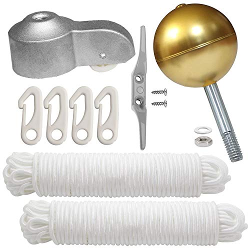 "PISSION Flagpole Hardware Repair Kits - 3"" Gold Ball / 2pcs 46ft Flag Halyard Rope / 4"" Cleat Hook / 4pcs Flag Clip Hooks/Hex Nuts/Flat Washers/Flagpole Truck for 2"" Top"
