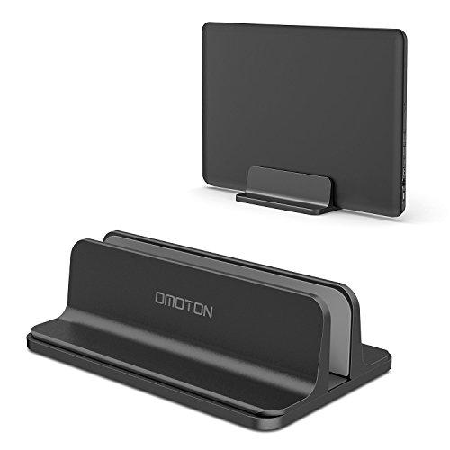 OMOTON Verstellbarer vertikalen Laptop Ständer, Aluminium Ständer für alle Handys und Notebooks - Perfekt für MacBook, MacBook Air, MacBook Pro, Ultrabook, Lenovo und andere, schwarz