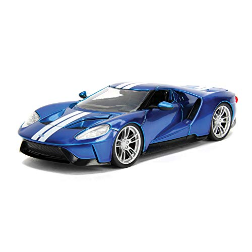 2017 Ford GT Candy Blue with White Stripes Bigtime Muscle 1/24 Diecast Model Car by Jada 99390
