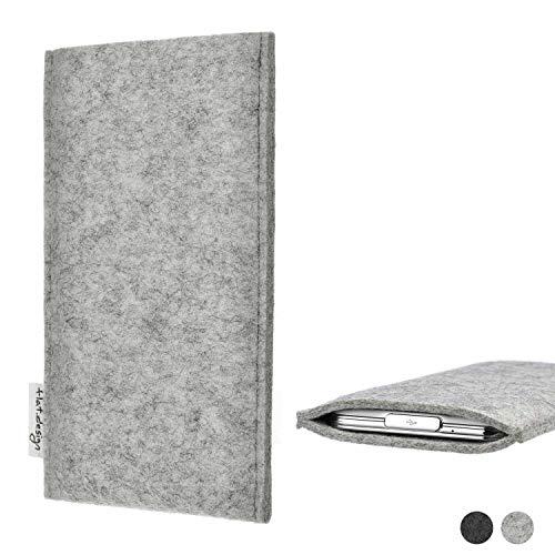 flat.design Handy Hülle Porto kompatibel mit Nokia 800 Tough maßgefertigte Handytasche Filz Tasche Schutz Hülle fair grau