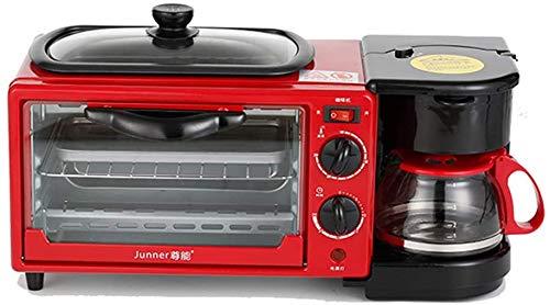 3-in-1 Mini Four électrique avec poêle Anti-adhésive Enduit et cafetière, Machine électrique Petit-déjeuner Multifonction, Micro-Ondes combiné Four, 9-L-Four, 0,6-L-café, Rouge