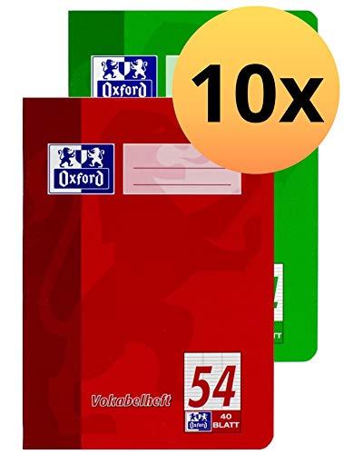 Oxford 100050337 Vokabelheft Schule 10er Pack im Format A4 mit 3 Spalten 40 Blatt sortiert rot und grün