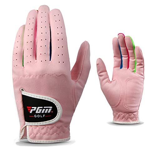 Kofull Unisex-Golfhandschuhe für Kinder, linke und rechte Hand, Leder, für Jungen und Mädchen, 1 Paar, rose, 17#