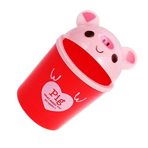 jojofuny Cubo de basura de plástico con animales de dibujos animados, mini cesta de la basura organizador de la basura (color rosado)