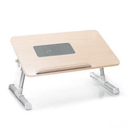Natura-Bam All Natural Wooden Laptop Computer Desk - Built in Cooling Fan - Adjustable - Portable (Natural Wood)