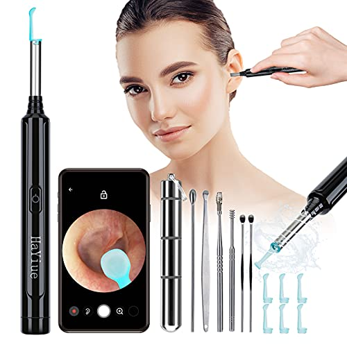 Ear Wax Removal with Camera, Earwax Remover Tool, 1296P FHD Wireless Ear Otoscope with 6 LED Lights, 6 Ear Spoon & 6 Ear Cleaner Tools Smart Earwax Cleaning Kit for iPhone, Android