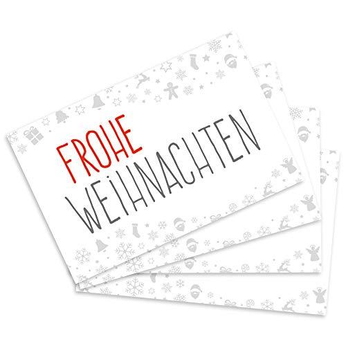 itenga 24 x Geschenkekärtchen Frohe Weihnachten im Visitenkartenformat Mini-Weihnachtskarte Geschenkanhänger für Kurze Texte Namensschild