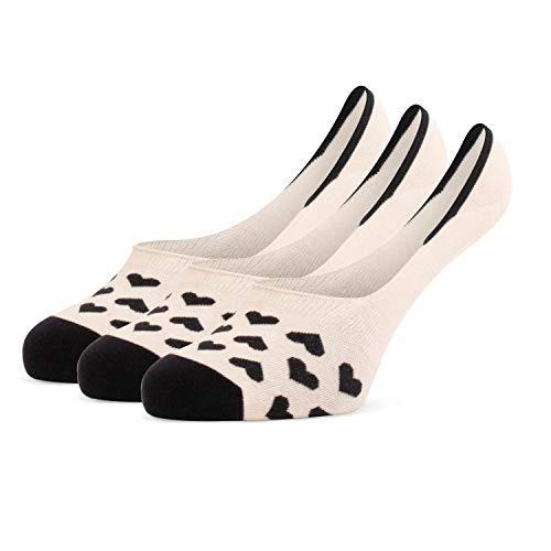 Tiger's Milk 3 Paar Damen Füßlinge Ballerina Fit Invisible Söckchen aus gekämmter Baumwolle mit Anti-Rutsch Silikon und ohne Naht Creme- Schwarz Größe 38-42