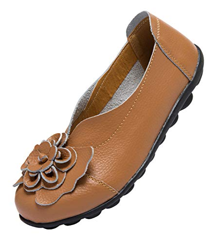 ANYUETE Women's Slip on Loafers Leather Flats Comfortable Walking Shoes Brown Size 7.5