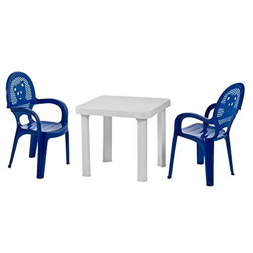 Resol Kinder-Gartenmöbelset aus Kunststoff, 1 weißer Tisch und 2 blaue Stühle, für draußen