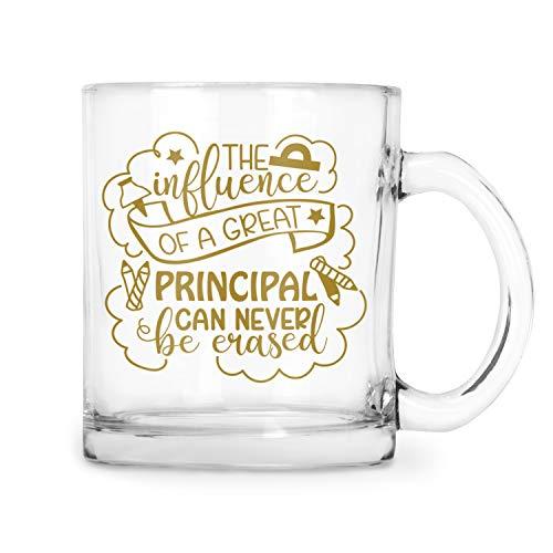 BadBananas - School Principal Gifts - The Influence Of A Great Principal Can Never Be Erased - Principal Appreciation Gifts - Glass Mug