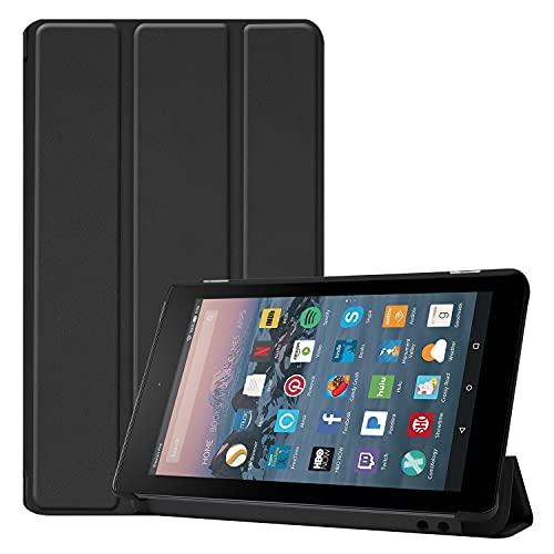 ZHANGHUI Funda protectora para tablet Fire de 7 pulgadas 2019/2017, funda ligera de tres pliegues, con soporte para PC, con triple pliegue y apagado automático, color negro