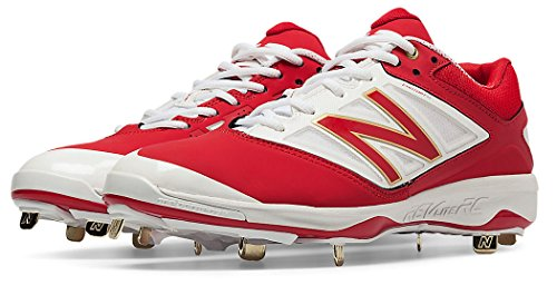 New Balance Men's L4040v3 Low Metal Baseball Cleats Red/White 14