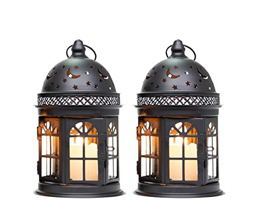 JHY DESIGN Set of 2 Decorative Lanterns-8.5 inch High Vintage Style Hanging Lantern, Metal Candle Holder for Indoor Outdoor Events Parities and Weddings (Black)