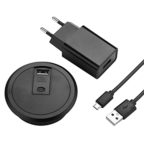 Cargador inalámbrico SOTECH WLC-03 Negro Ø 73mm Cargador de escritorio USB con fuente de alimentación Estación de carga inductiva para teléfonos inteligentes habilitados para Qi