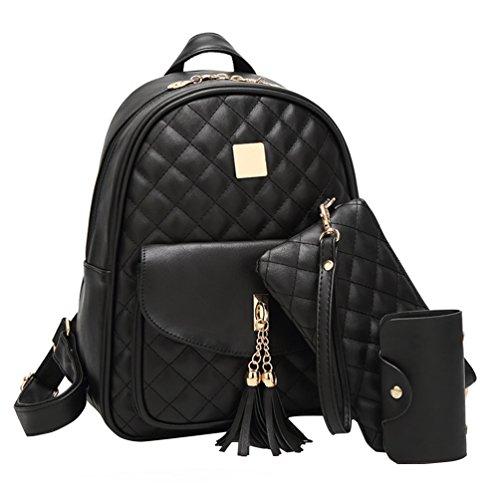 Vbiger Rucksack Damen PU Leder Elegant Daypack Schultertasche 3 in 1 Kleiner Rucksack Set Schwarz