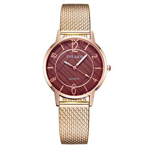 Powzz ornament Reloj de señoras correa de plástico reloj de cuarzo-caja de café correa de oro rosa