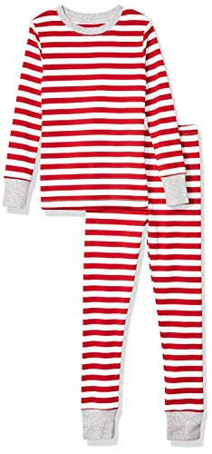Amazon Essentials Kids Boys Snug-Fit Cotton Pajamas Sleepwear Sets, 2-Piece Red Even Stripe Set, Large