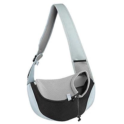 You Pet Dog Sling Carrier, Breathable Mesh Travelling Pet Hands-Free Sling Bag Adjustable Padded Strap Front Pouch Single Shoulder Bag for Dogs Cats 1