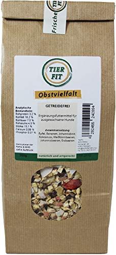 TierFit Obstvielfalt getrocknet 350 g Ergänzung zur Fleischmahlzeit glutenfrei Äpfel Bananen Johannisbrot Kokosnuss Weißdornbeeren Johannisbeeren Erdbeeren